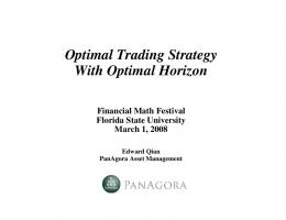 Optimal Trading Strategy With Optimal Horizon - Florida State ...