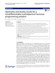 Optimality and duality results for a nondifferentiable ... - CyberLeninka