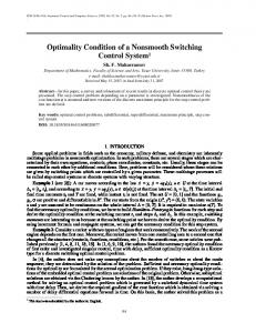 Optimality Condition of a Nonsmooth Switching Control ... - Springer Link