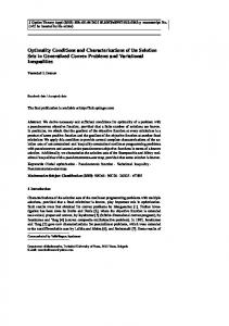 Optimality Conditions and Characterizations of the