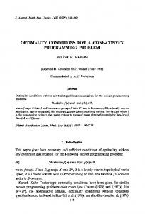 Optimality conditions for a cone-convex programming ...