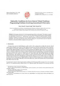 Optimality Conditions for Invex Interval Valued Nonlinear ... - PMF Niš