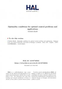 Optimality conditions for optimal control problems and applications