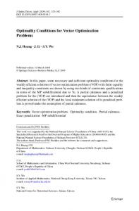 Optimality Conditions for Vector Optimization Problems