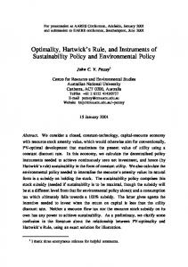 Optimality, Hartwick's Rule, and Instruments of ... - AgEcon Search