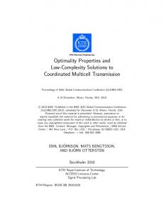 Optimality Properties and Low-Complexity ... - Semantic Scholar