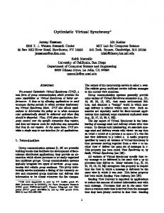 Optimistic Virtual Synchrony - UCSD CSE