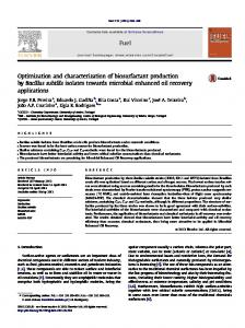 Optimization and characterization of biosurfactant production by ...