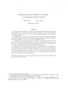 Optimization and the Price of Anarchy in a Dynamic ... - CiteSeerX
