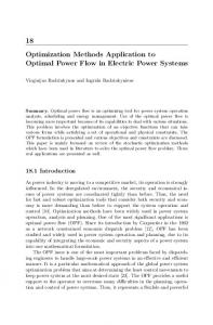 Optimization Methods Application to Optimal Power Flow in Electric ...