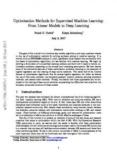 Optimization Methods for Supervised Machine Learning - arXiv