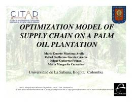 optimization model of supply chain on a palm oil plantation