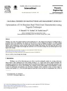 Optimization of 316 Stainless Steel Weld Joint ... - ScienceDirect