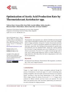 Optimization of Acetic Acid Production Rate by