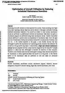Optimization of Aircraft Utilization by Reducing ...