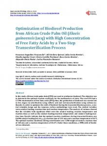 Optimization of Biodiesel Production from African Crude Palm Oil ...