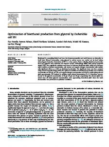 Optimization of bioethanol production from glycerol by ... - Core