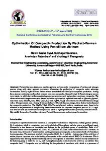 Optimization Of Compactin Production By Plackett
