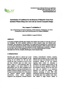 Optimization of Conditions for the Removal of Malachite Green from ...