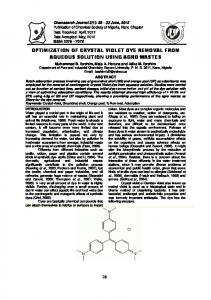 optimization of crystal violet dye removal from aqueous solution using ...