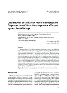 Optimization of cultivation medium composition for production of ...
