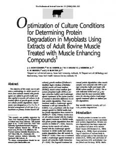 Optimization of Culture Conditions for Determining Protein ...