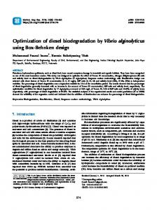 Optimization of diesel biodegradation by Vibrio ... - ScienceCentral