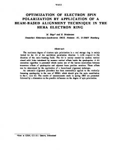 Optimization of Electron Spin Polarization by Application of a Beam ...
