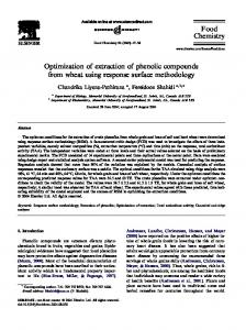 Optimization of extraction of phenolic compounds ...