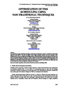 optimization of fms scheduling using non-traditional
