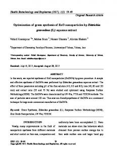 Optimization of green synthesis of ZnO nanoparticles by Dittrichia ...