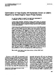 Optimization of High-Quality AlN Epitaxially Grown on - RPI ECSE