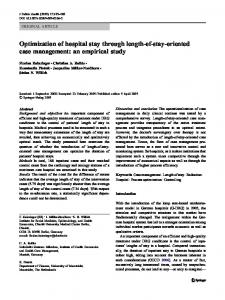 Optimization of hospital stay through length-of-stay ... - Springer Link