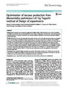 Optimization of laccase production from ... - Semantic Scholar