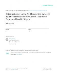 Optimization of Lactic Acid Production by Lactic Acid ...