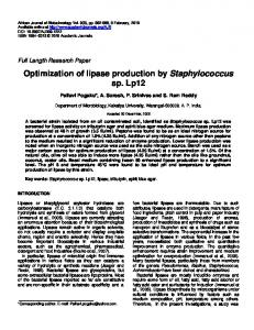 Optimization of lipase production by ... - Academic Journals