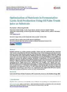 Optimization of Nutrients in Fermentative Lactic Acid Production Using