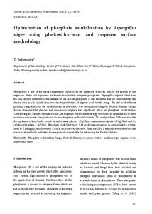 Optimization of phosphate solubilization by Aspergillus niger ... - SciELO