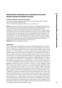 Optimization of phosphorus precipitation from swine ... - CiteSeerX