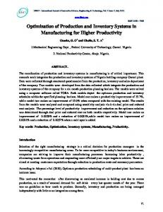Optimization of Production and Inventory Systems in ... - IJISET