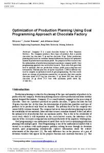 Optimization of Production Planning Using Goal Programming