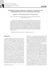 Optimization of Reaction Conditions for Cyclohexane to ...