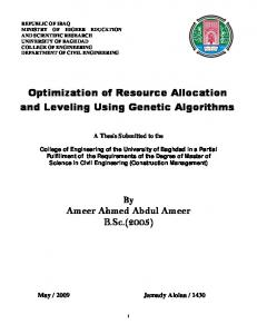 Optimization of Resource Allocation and Leveling
