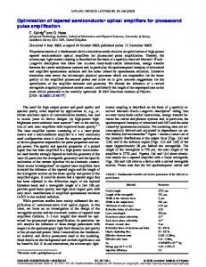 Optimization of tapered semiconductor optical amplifiers for ...