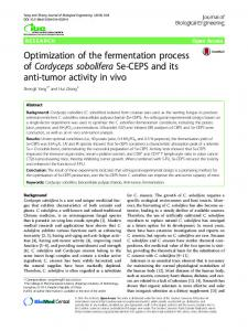 Optimization of the fermentation process ofCordyceps soboliferaSe ...