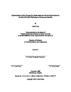 Optimization of the Process for Semiconductor Device Fabrication in ...