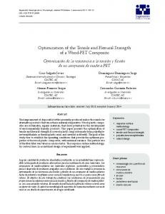 Optimization of the Tensile and Flexural Strength of a ...