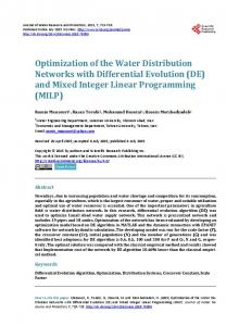 Optimization of the Water Distribution Networks ... - Semantic Scholar
