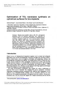 Optimization of TiO2 nanotubes synthesis on cylindrical surfaces for ...