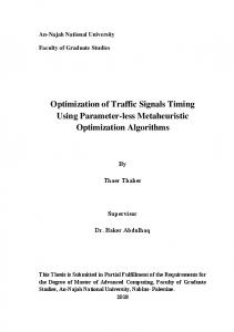 Optimization of Traffic Signals Timing Using